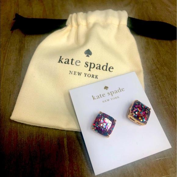 Kate Spade, multi-glitter square stud earrings.